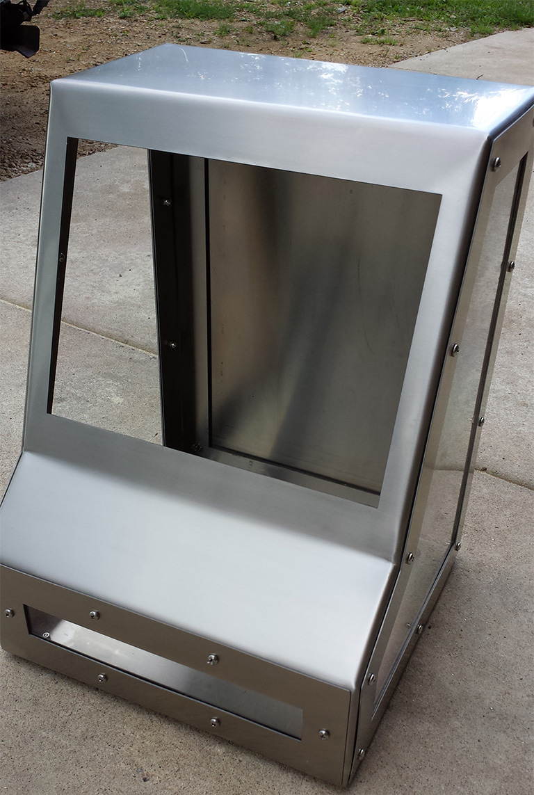 Silver custom controls cabinet with acrylic
