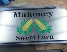 Colored Mahoney Sweet Corn Sign cut from stainless Steel